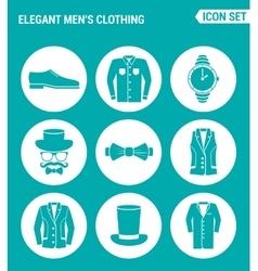 set of round icons white Elegant men s clothing vector image