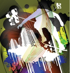 skateboarder and an urban back vector image