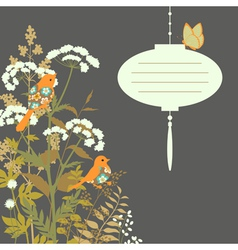 Floral card with paper lantern vector image vector image