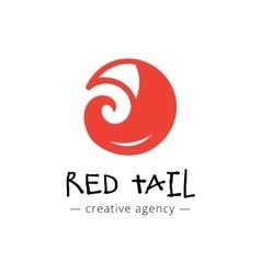 funny minimalistic fox tail logo vector image vector image