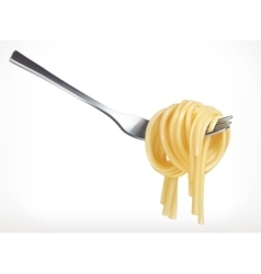 Pasta on fork icon vector image