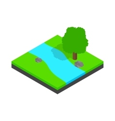River landscape icon isometric 3d style vector image vector image