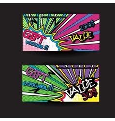 set of gift voucher card template pop art bright vector image vector image