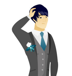 young asian groom scratching his head vector image vector image