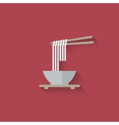 Chinese noodles with chopsticks vector image vector image