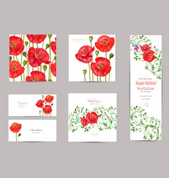 collection of greeting cards with blossom poppies vector image