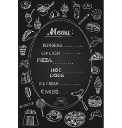 Food Menu on Chalkboard vector image