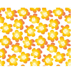 hot orange color summer floral in retro 60s style vector image