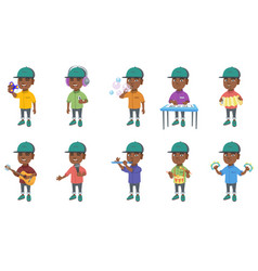 little african boy set vector image vector image