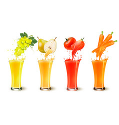 set of fruit juice splash in a glass grapes vector image vector image