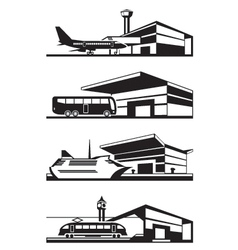 Transport stations with vehicles vector image vector image