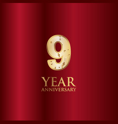 9 year anniversary gold with red background vector