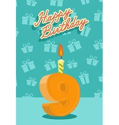 9 year Happy Birthday Card vector image