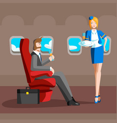 A man sits in a plane the business class the vector