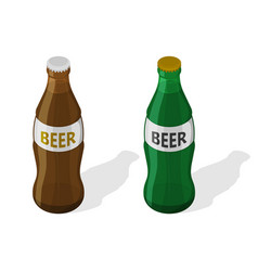 a set of two glass bottles vector image