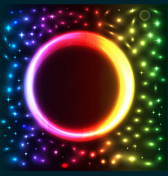 abstract background with bright neon circle vector image