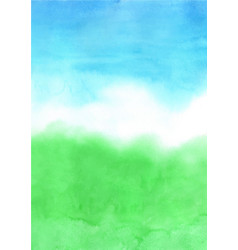 abstract green grass and blue sky watercolor vector image