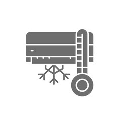 air conditioning with cooling grey icon vector image