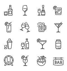 alcohol drinks thin line icons set vector image
