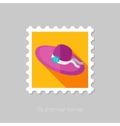 Beach Hat flat stamp with long shadow vector image