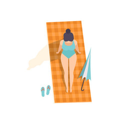 beautiful brunette woman in blue swimsuit vector image