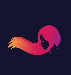 beautiful long haired girl in profile vector image