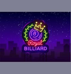 Billiards neon sign royal logo in neon vector