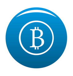 bitcoin sign icon blue vector image