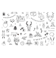 Black and white christmas and winter doodles vector