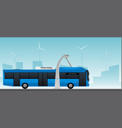 Blue electric bus vector