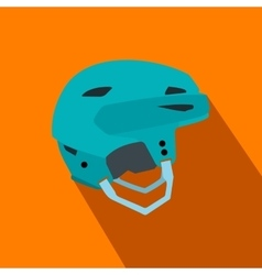 Blue hockey helmet flat icon vector