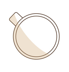 Brown silhouette shading of top view cup of coffee vector
