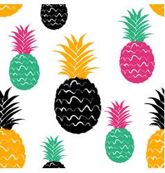 Brush grunge pineapple fruits seamless pattern vector