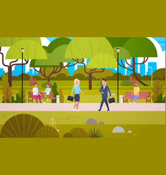 businesspeople walking in urban park over people vector image