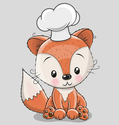 Caroon fox in a cook hat vector
