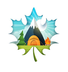 cartoon landscape tent mountain fire fir vector image
