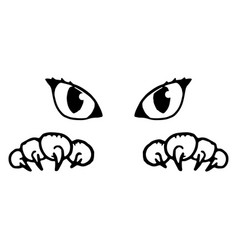 Cats eyes and paws with claws silhouette cat vector