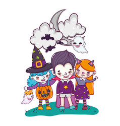 Children with funny costumes and ghosts with bats vector
