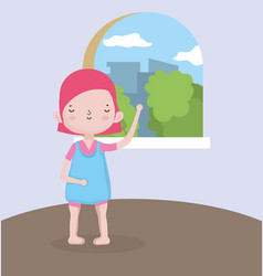 Childrens day girl with city view from window vector