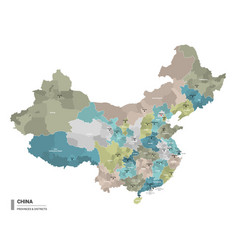 china higt detailed map with subdivisions vector image