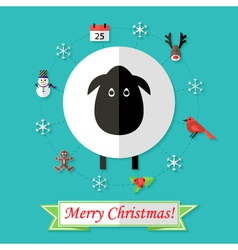 Christmas Card with Sheep over Blue vector