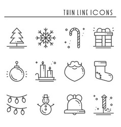 christmas holiday thin line icons set new year vector image
