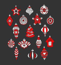 christmas tree toys and balls drawn hand vector image
