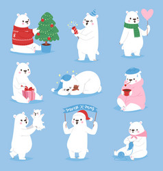 Christmas white bear animal cute beauty vector
