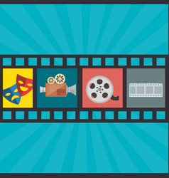 Cinema entertainment set icons vector