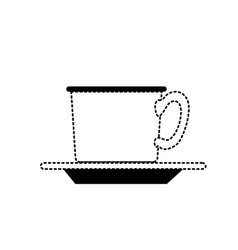 coffee cup on dish in black dotted silhouette on vector image