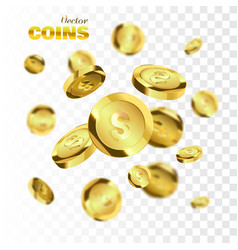coins explosion isolated on checkered background vector image