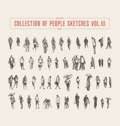 collection people sketches hand drawn vector image