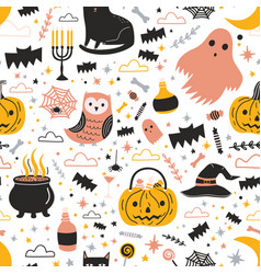 colorful seamless pattern with cute creepy vector image