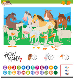 Counting farm animals activity vector